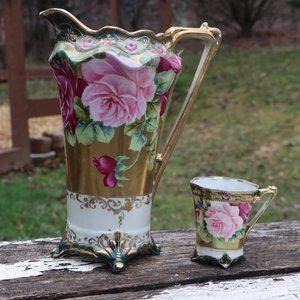Vintage 1900s Nagoya Japan Tea Pitcher & Tea Cup